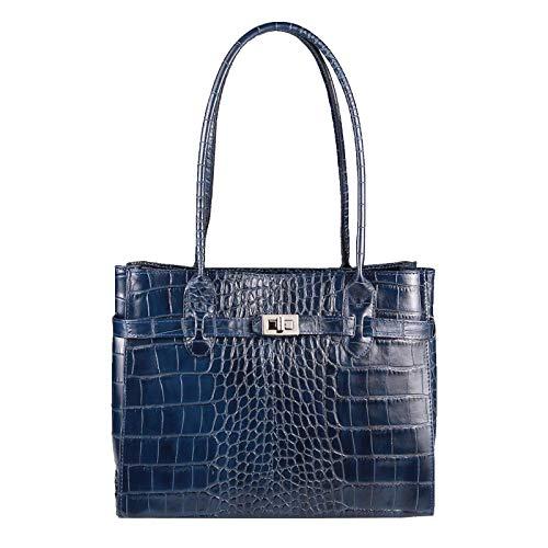 OBC Made in Italy Damen Echt Leder Tasche Kroko-Prägung Business Shopper Aktentasche Schultertasche Handtasche Ledertasche Umhängetasche DIN-A4 Tote Bag (Blau)