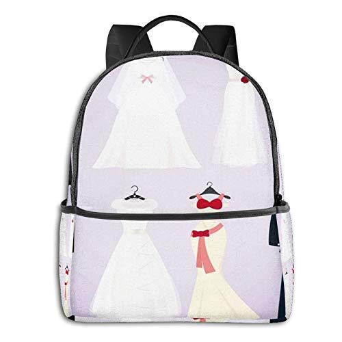 Rucksack Freizeit Damen Herren, Kleid Hochzeitskostüme Campus Kinderrucksack, Daypack Schulrucksack Sportrucksack Tablet Tasche 15,6 Zoll