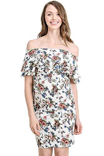 Cool-Eletina Wear Damen Schulterfreies Umstandskleid mit doppeltem Rüschen, Blumenmuster Gr. X-Large, Elfenbeinfarbenes Blumenmuster