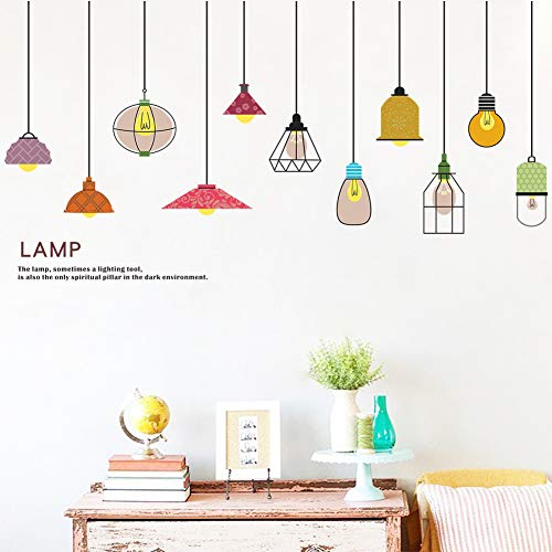 Youyouyu Colorful Chandelier Wall Decals DIY Drooping Light Lamp Wall Stickers Mural for Living Room Kids Bedroom Sofa TV Art Wall Background Decoration (Colorful Lamp)