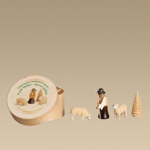 Holzdekoration Spanschachtel Schäferei Spandose ca. Ø 6cm,Figurenhöhe 3,5cm NEU Spielzeug Dekoration Holz Spandose Holzdose Seiffen Holzspielzeug Erzgebirge Tischdekoration Weihnachten