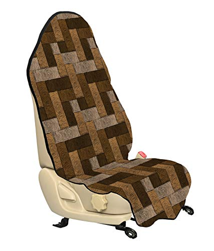 ABAKUHAUS Chocola Beschermhoes voor autostoelen, Houten Parket Motif, met Antislip Achterkant, Universele Maat, 75 x 145 cm, Beige Pale Brown
