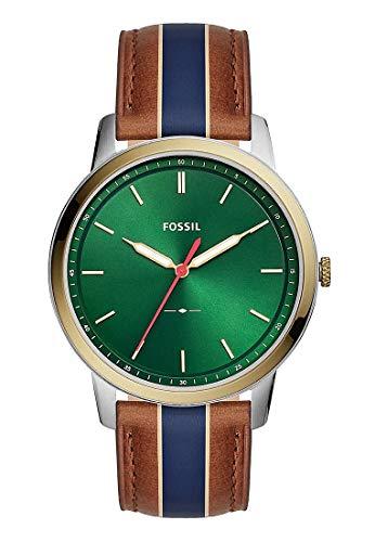 Fossil Reloj Analógico para Hombre de Cuarzo con Correa en Cuero FS55