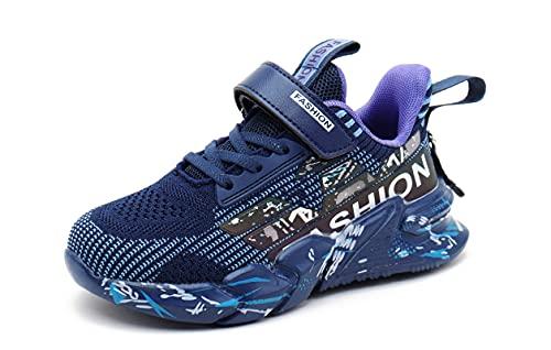 SMajong Zapatillas de Deporte para Niños Niños Zapatillas de Correr Transpirables Zapatillas de Running Ultraligeras Zapatos para Caminar al Aire Libre para niño(Morado 29EU)