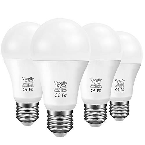 Dusk to Dawn Light Bulb 7W E26 Smart Sensor LED Bulbs Photosensor Auto Switch Socket Outdoor LED Lighting Porch Front Door (Warm White, 2700K, 4 Pack)