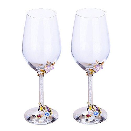 WAYDAY Verres à vin en emaillé (set de 2) - Verre robuste de 400ML avec design de fleur de prunier pour vin, cocktail, champagne etc - Un grand cadeau avec coffret de luxueux inclus
