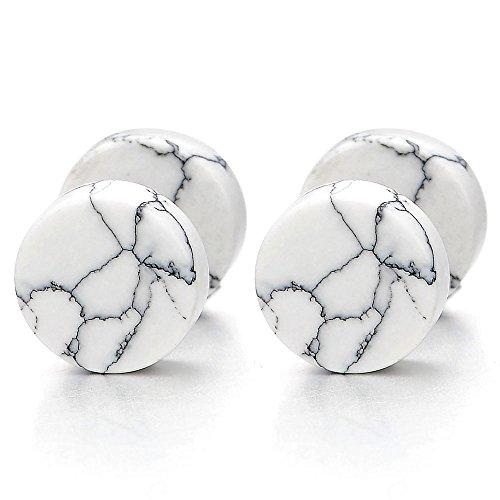 2pcs 10MM White Marble Stud Earrings Men Women, Steel Cheater Fake Ear Plugs Gauges Illusion Tunnel