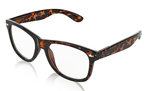 SunnyPro Fashion Vintage Glasses Large Sunglasses for Women Clear (Brown Tortoise)