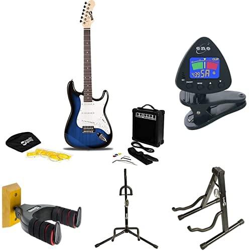 RockJam RJEG02 - Kit de iniciación + ENO Clip para afinador de guitarra y ukelele + RockJam Aframe Soporte de guitarra + Soporte de guitarra + Soporte de guitarra + TwinPack Soporte de guitarra