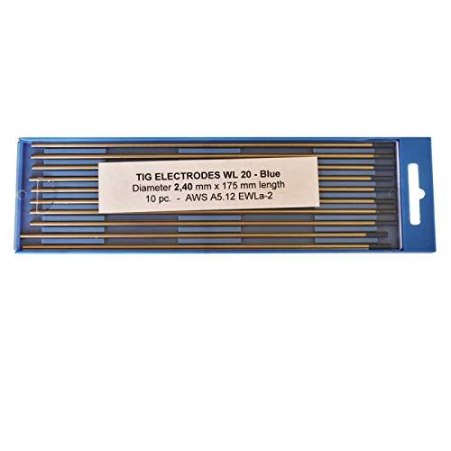 Electrodos de tungsteno lantanizados azul WL20 2.4 x 175 mm.