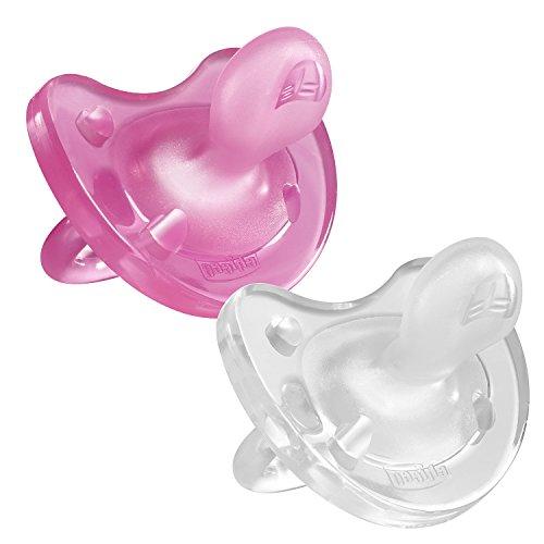 Chicco Chupete Physio Soft 'todo silicona'–x2, colores diferentes blanco/rosa Talla:0 a 6 meses