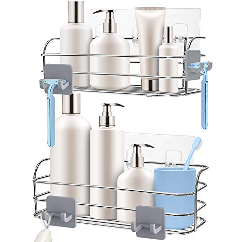 Orimade Shower Caddy Basket Shelf with Hooks for Hanging Sponge and Razor Shampoo Holder Organizer No Drilling Wall Mounted Adhesive Bathroom Storage Rustproof SUS304 Stainless Steel - 2 Pack