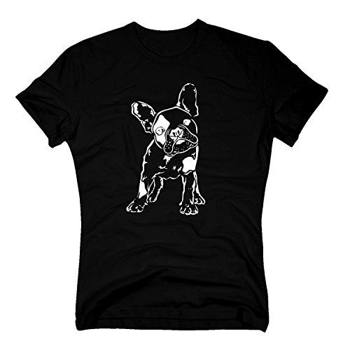 T-Shirt Baby Bulldogge Französisch French Dog Doggy Hund Hundebaby, M, schwarz