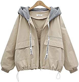 YXHM A The New Large Size Women by Age Wild Hooded Windbreaker Jacket (Color : Apricot, Size : XXXXL)