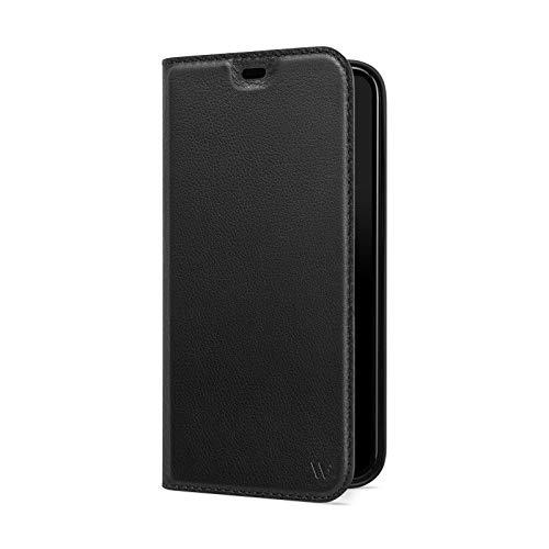 WIIUKA Hülle für iPhone 12 Pro Max, Lederhülle mit Kartenfach, extra Dünn, Premium Leder, Handyhülle mit Standfunktion, Tasche Schwarz