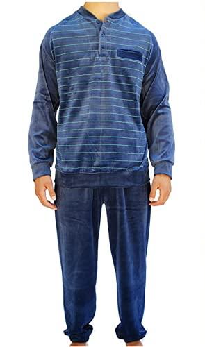 Algodonea - Pijama Caballero Terciopelo Color Azul Petróleo (Talla XL)