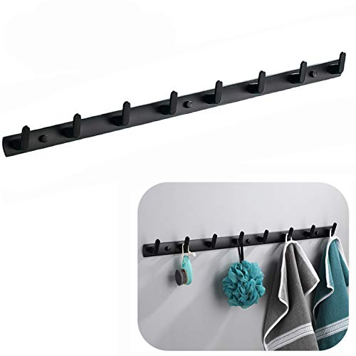 Spotcact Wall Mounted Coat Racks with 8 Hooks Hanging Holder Towel Rack 297x13 Modern Black Hanging for Clothes Entryway Bathroom 8 Hooks