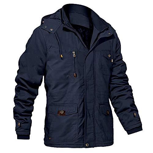 Cargo Jacket Men Work Cotton Warm Jackets Stand Collar Military Jackets Warm Winter Coats Field Coat Fleece Lined Thicken Jackets for Men