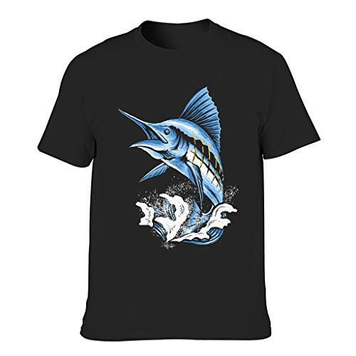 Josephion Camiseta de algodón para hombre Marlin Fish