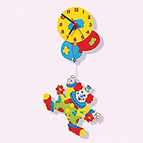 Dida - Wanduhr Clown mit Luftballons, Analoge Uhr Zum Aufhängen Und Zum Dekorieren, Ideal Für Das Kinderzimmer, Der Lustige Clown Ist EIN Wunderbares Geschenk Für Kinder Jeden Alters
