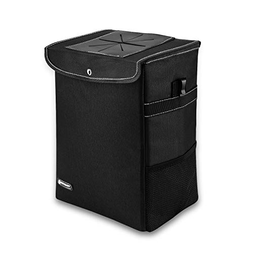 ROYAMY Car Trash Can with Lid,Car Trash Bag Hanging with Storage Pockets-Collapsible and Portable Car Garbage Can-100% Leak-Proof Vinyl Inside Lining (2.65 gal)