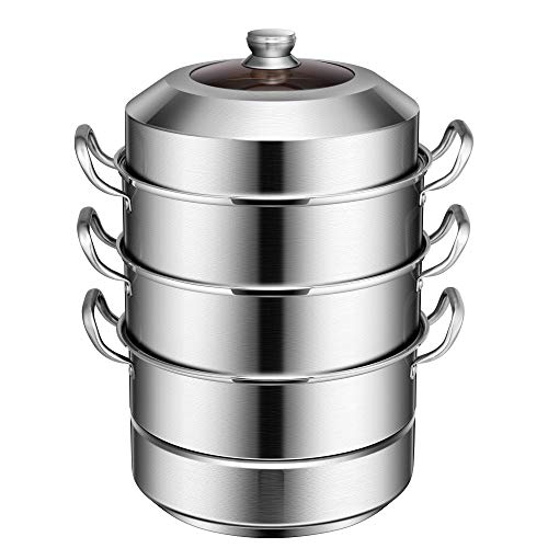VIVOHOME 3-Tier 14.2 Inch 1mm Extra Thick 13Qt 304 Stainless Steel Steamer Pot Steaming Cookware with Tempered Glass Lid, Work with Gas, Electric, Induction Oven, Grill Stove Top, Dishwasher Safe