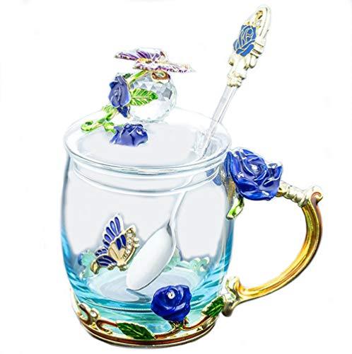 YUEMING vidrio Taza con asa Pared de Vidrio de Borosilicato,Resistente al Calor Tazas de café Taza téLeche,Taza de té con tapa Taza de cafe con cuchara Taza rosa mariposa (Azul + 320ml)
