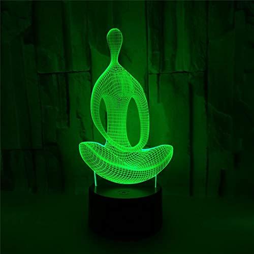 Yoga Oefening 3D Illusie Lamp 3 Modi 7 Kleuren LED USB Aangedreven Slaaplamp Speelgoed voor Kinderen, Verjaardagscadeau, Bedkant Tafel Decoratie