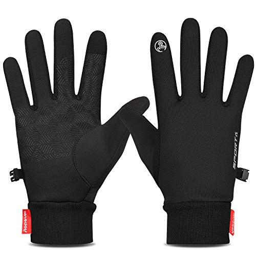Yobenki Winter Warm Gloves, Anti Slip Touchscreen Gloves Windproof Thermal Gloves Cold Weather Cycling Gloves for Men Women(Black,XL)