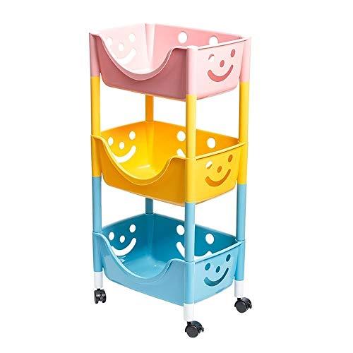 WMMCM Keuken badkamer trolley volgelaagd carrier met wieltjes 3 dieren wielen doelwagen craft art carts en extra kantoor-opslag-accessoires