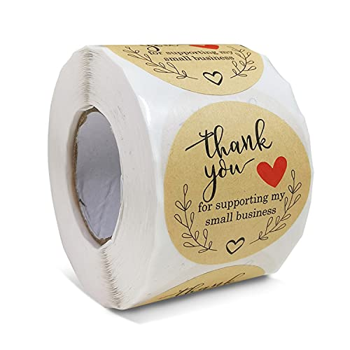 500 Pcs 2 Inch Thank You Stickers, Thank You Stickers Roll, Thank You Labels for Supporting My Small Business, Handmade Goods, Greeting Cards, Flower Bouquets, Business Greeting Cards, Gift Wraps.