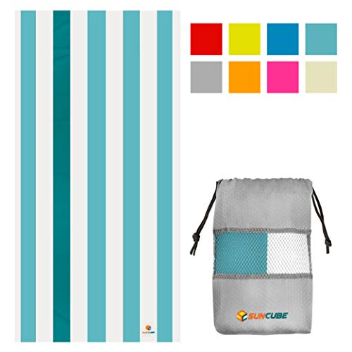 SUN CUBE Microfiber Beach Towel | Sand Free Towel, Lightweight, Quick Dry, Compact Swim Towel for Adults | Packable Easy to Carry Towel for Beach, Pool, Camping, Travel (Light Blue, 60x30 Inches)