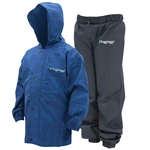 Frogg Toggs Polly Woggs Waterproof Breathable Rain Suit, Youth, Blueberry, Size Small