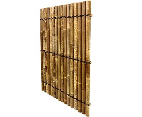 Bambus Element Apas13 150x120cm aus schwarz braunen halben Bambusrohre mit 5 bis 6cm - Sichtschutzzaun Sichtschutzzäune Blickschutz aus Bambus Sichtschutzwand Sichtschutzwände Raumabtrennung