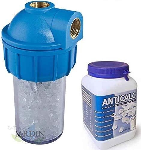 Suinga Pack FILTRO ANTICAL calentadores y calderas 1/2\ con vaso contenedor y filtro de polifosfatos. Incluye recambio polyfosfatos 500 gramos. Elimina la capacidad incrustante de la cal.
