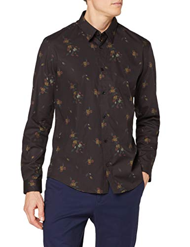 Amazon-Marke: find. Herren Hemd mit Blumenmuster, Schwarz (Chocolate), XXL