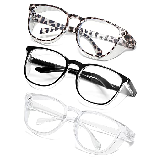 Safety Glasses Goggles Anti Fog Anti-Scratch Anti-pollen Stylish Protective Goggles Eyewear for Men/Women ANSI Z87.1 (Black+Clear+White leopard)