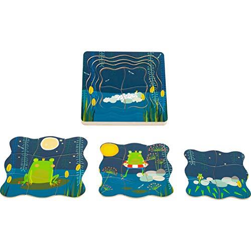 Small Foot- Puzzle à étages Roi Bois avec Quatre Couches et des Motifs détaillé pour Le développement d'une Grenouille Jouets, 11539