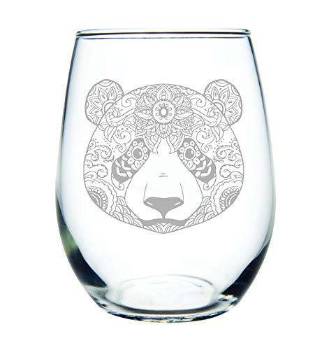 C M Panda 15 oz. stemless wine glass