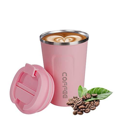 QH-Shop Taza de Café de Acero Inoxidable al Vacío a Prueba de Fugas, 380ml Ecológica Reutilizable Taza de Viaje de Doble Pared con Tapa para Bebidas Frías y Calientes Bebidas