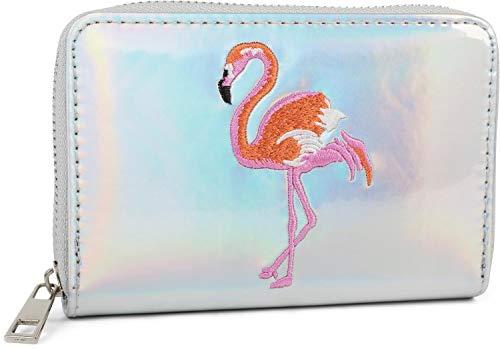 styleBREAKER Damen Mini Geldbörse in irisierender Metallic Optik mit gesticktem Flamingo, Reißverschluss, Portemonnaie 02040119, Farbe:Silber Metallic