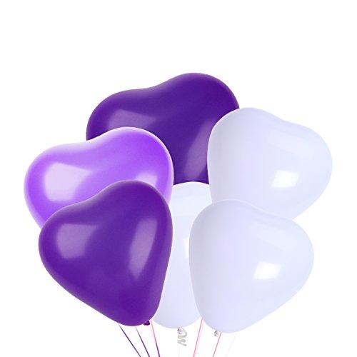 NUOLUX Herz Luftballons,10 Zoll weiße lila Latex Luftballons für Party-Zubehör, 50 Stück, 3 Farben