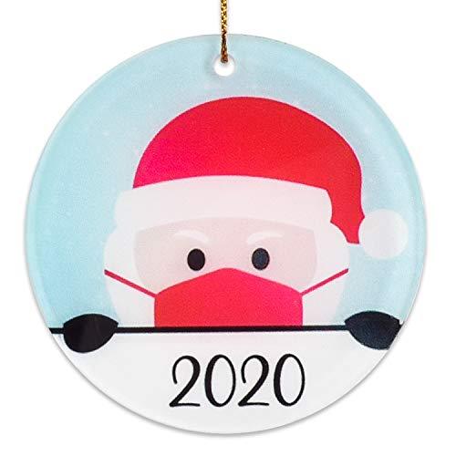 Wonder4 2020 Christmas Ornaments | Cute Santa Clause | Ceramic Handmade Ornament | Xmas Tree Decoration Gifts | 2.8in