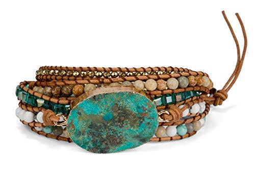 SPUNKYsoul Ocean Jasper 5 Wrap Handmade Leather Bead Crystal Wrap Bracelet Collection (5 Wrap Ocean Jasper)