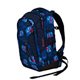 satch Sleek Waikiki Blue, ergonomischer Schulrucksack, 24 Liter, extra schlank, Dunkelblau/Weiß/Pink