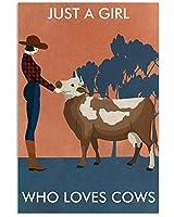牛を愛する少女超耐久性のあるブリキの看板レトロなバーの人々の洞窟カフェガレージ家の壁の装飾看板8x12インチ