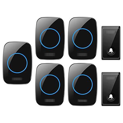 Zelfaangedreven draadloze deurbel, 2 zenders, 5 ontvangers, waterdichte plug-in draadloze deurbelset met een bereik van 650 voet, 58 klokken, volume met 4 niveaus en blauw licht,Black