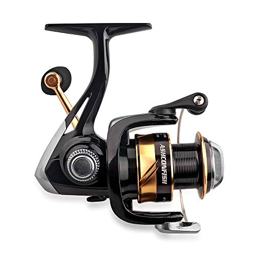 Ashconfish Spinning Fishing Reel , Graphite Body, 7+1 Stainless Steel BB, 5.0:1 Gear Ratio, Lightweight Spinning Reel for Freshwater Fishing, Come with 109 Yds Braided Line AF1000