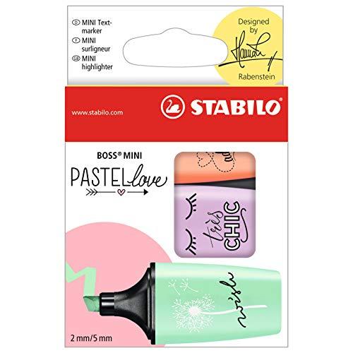 Evidenziatore - STABILO BOSS MINI Pastellove - Confezione da 3 - Rosa Pesca/Verde Menta/Glicine