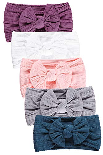 Hocaies Vendas del bebé Hairband de los bebés recién Nacidos Diademas de bebé anchas con lazo Diadema Elástica Niñas Banda Para Cabeza Bebe Accesorio Bebe Niñas Recien Nacida (5 Piezas - E)
